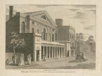 The late theatre in Chesnut [sic] Street Philadelphia [graphic]: Destroyed by Fire in 1820 / Drawn & Published by W. Birch near Bristol, 1804; Gilbert Fox Aquafortus.