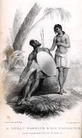 A Zoolu warrior & his daughter [graphic] / Drawn on stone by W. Bagg ; Printed by Graf & Soret.