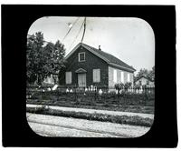[Mennonite meeting house with view of cemetery grounds, Germantown] [graphic].