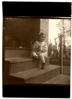 Elliston P. Morris Jr. on back kitchen steps, 6706 Cresheim Rd, Pelham [graphic].