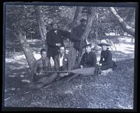 [Mana]squan River party after lunch, 2 miles below Allaire, [NJ]. Anne Emlen, Father, Shober Kimber, Mr. [Joseph Bunford] Samuel, Miss Cohen & Bess [graphic].