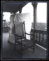 Old Marriott chair made by Isaac Marriott in 1680. In back porch at Wilmington, [DE] [graphic].
