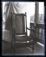 Old Marriott chair, [in back porch at Wilmington, DE] [graphic].