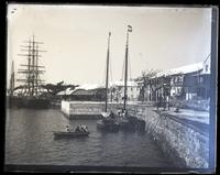 Front St. & wharves from Eastern shed showing Paget Ferry steps, [Hamilton, Bermuda] [graphic].