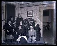 "Group in our parlor. Father, Cos. H[annah] P[erot] Morris, Auntie Beulah & Uncle Chas. Rhoads, Bess, Geo. S. Morris, Mother & Aunt Lydia Morris, also dog ""Jet,"" [Deshler-Morris House, 5442 Germantown Avenue] [graphic]."