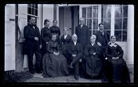 [Family group at back porch of Deshler-Morris House, 4782 Main St. Father, Bess, Hannah, Mother, Aunt Lydia, Uncle Charles Rhoads, Auntie Beulah. Geo. S. Morris & Catherine Harman. Germantown] [graphic].