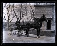 Ed. Strawbridge in buggy at their house, [Germantown] [graphic].