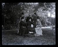 Group under elm [Deshler-Morris House, 5442 Germantown Avenue]. German class. Sallie, Mary & Anne Emlen, Mr. Heins, Jennie Jones, Alice Shipley & Bess [graphic].