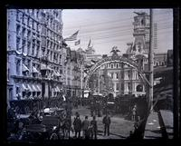 Broad St. looking N. from Sansom St. on 3rd day of Centennial of our Constitution, showing Arch with coats of arms of states. [Constitutional Centennial Celebration, Philadelphia] [graphic].