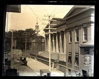 Custom House & E. end of State House from 4 & Library Sts. 2nd story, [Philadelphia] [graphic].