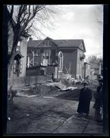 [Construction of the Germantown Boys' Club near 10 W. Penn, Germantown. Man walking in foreground] [graphic].
