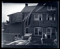 [Patriotic decorations on building facade near the Germantown Boys' Club, 10 W. Penn Germantown] [graphic].