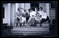 Group on rear porch, Meadow Farm, [including Jane Rhoads Morris and Marriott Canby Morris Jr. Darlington, MD] [graphic].