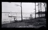 [Woman in chair overlooking dock, Wreck Pond, Sea Girt, NJ] [graphic].