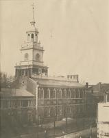 Independence Hall or State House, from the N.E. across the ruins made by the great fire N.W. corner of Chestnut & Fifth St. [graphic].