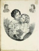 [Print containing sentimental genre scene and proof vignette bust portraits] [graphic].
