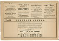 [Plate 14 and advertisements from Rae's Philadelphia pictorial directory & panoramic advertiser. Chestnut Street, from Second to Tenth Streets] [graphic].