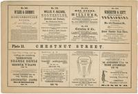 [Plate 11 and advertisements from Rae's Philadelphia pictorial directory & panoramic advertiser. Chestnut Street, from Second to Tenth Streets] [graphic].