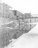 [Industrial buildings lining canal in Manayunk, Philadelphia, during winter] [graphic].