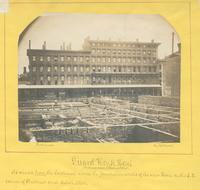 Girard House Hotel, northeast corner of Chestnut & 9th St. [graphic] : As viewed from the southwest across the foundation walls of the new hotel on the s.e. corner of Chestnut and Ninth Street / Photograph by Richards.