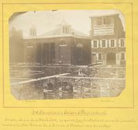Dr. Staughtons, or Sansom St. Baptist church. Sansom south side east of Ninth Street, as viewed from the northwest, across the foundation walls of the new hotel on the s.e. corner of Chestnut and Ninth Street. [graphic] / Photograph by Richards.