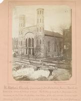 St. Stephen's Church (Episcopal). Dr. Duchachett [sic], rector. Tenth St. East side corner of College Avenue. [graphic] : The broken ground &c in foreground, is the remains at the time the picture was taken, of the old wooden houses now removing to give p