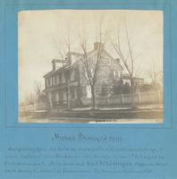 "Michael Billmeyer's house and printing office - his bookstore was in portion of the house nearest the eye - it was the next ""place"" above Chews place. [graphic] : Mr. Watson writes ""It is a good one [to be photographed]."" At its south end Genl. Washington"
