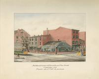 Northwest corner of Eleventh and Pine Streets. Demolished 1889. Present site of the Gladstone. [graphic] / B.R. Evans.