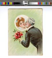 [Racist metamorphic New Years Day card depicting a man kissing a series of women, including a grotesquely depicted African American woman] [graphic].