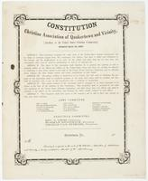 Constitution of the Christian Association of Quakertown and Vicinity, : (auxiliary to the United States Christian Commission). Adopted April 1st, 1864. ... The object of this association shall therefore be to promote the spiritual as well as temporal welf