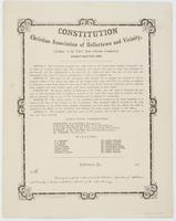 Constitution of the Christian Association of Hellertown and Vicinity, : (auxiliary to the United States Christian Commission). Adopted April 14th, 1864. ... The object of this association shall therefore be to promote the spiritual as well as temporal wel