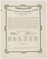 Constitution of the Christian Association of Freemansburg and Vicinity, : (auxiliary to the United States Christian Commission). Adopted April 3d, 1864. ... The object of this association shall therefore be to promote the spiritual as well as temporal wel