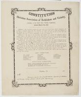 Constitution of the Christian Association of Bethlehem and Vicinity, : (auxiliary to the United States Christian Commission). Adopted March 17th, 1864. ... The object of this association shall therefore be to promote the spiritual as well as temporal welf