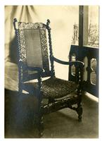 Old Marriott Chair made by Isaac Marriott in 1680. In back porch at Wilmington