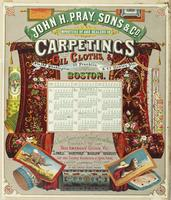 John H. Pray, Sons & Co. Importers of and dealers in carpetings oil cloths, &c. Nos 192 Washington, 23 Franklin & 63 Hawley sts: French & English carpets of the choicest style and manufacture constantly on hand. Best American goods viz: