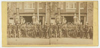 [William Penn Hose Company steam engine and fire fighters in front of the company fire station on Frankford Road near Franklin Avenue, Philadelphia]