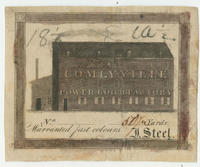Comlyville power loom factory. No. [blank] 50 1/2 yards. Warranted fast colours. J. Steel.