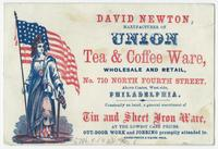 David Newton, manufacturer of Union tea & coffee ware, wholesale and retail, No. 710 North Fourth Street, above Coates, west side, Philadelphia.