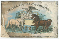 Maas & Vogdes, job printers, [N.E.?] corner of Second & Chestnut Sts., over Corn Exchange Bank.