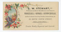 L.W. Stewart, agt. wholesale and retail manufacturer and dealer in trunks, bags, satchels, ladies' & gents' traveling trunks, pocket books, &c. 29 South Tenth Street, Philadelphia.