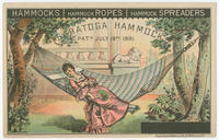 Hammocks, hammock ropes, hammock spreaders, Saratoga hammock, pat'd July 19th, 1881.