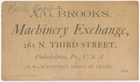 A.G. Brooks, machinery exchange, 261 N. Third Street, Philadelphia, Pa., U.S.A.