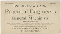 Snediker & Carr, practical engineers and general machinists, manufacturers of light machinery, cutting, forming and stamping dies. Power summer fans for offices, hotels & restaurants. Shafting, pullies and hangers furnished and put up at short notice. 925