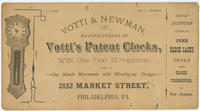 Votti & Newman, manufacturers of Votti's patent clocks, with one year movements, also, one month movements with winding-up designs. 2132 Market Street, Philadelphia, Pa.