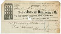 Bought of Artman, Dillinger & Co. Wholesale dealers in cotton yarns, carpet chain, carpets, ratting, wadding, tie, and wick yarns, oil cloths, window sh[ades], door mats, grain bags, cordage brushes, looking glasses, wood[en] [a]nd willow ware, &c. 104 No