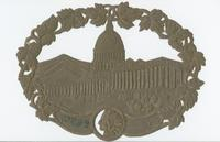 [Die-cut textile label depicting the United States Capitol Building]