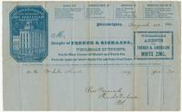 Bought of French & Richards, wholesale druggists, north-west corner of Market and Tenth Sts., wholesale agents for Silver's plastic fire and water proof paints.