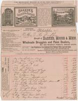 Bought of Barker, Moore, Mein, wholesale druggists and paint dealers, no. 609 Market Street, above Sixth.
