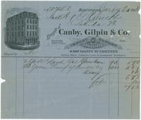 Bought of Canby, Gilpin & Co. Import and export druggists & druggists sundrymen. North west corner Light & Lombard Streets.