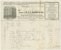 Bought of H.O.D. Banks & Co., wholesale dealers in drugs, chemicals, paints, glass, coal oil, & c. Store, s. w. cor. fourth & Callowhill Sts.